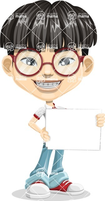 Asian School Boy Cartoon Vector Character AKA Jeng Li - Sign 3