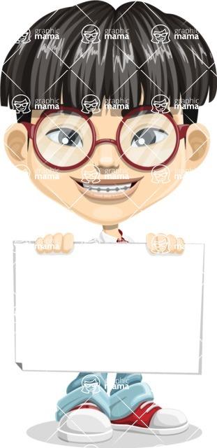 Asian School Boy Cartoon Vector Character AKA Jeng Li - Sign 5