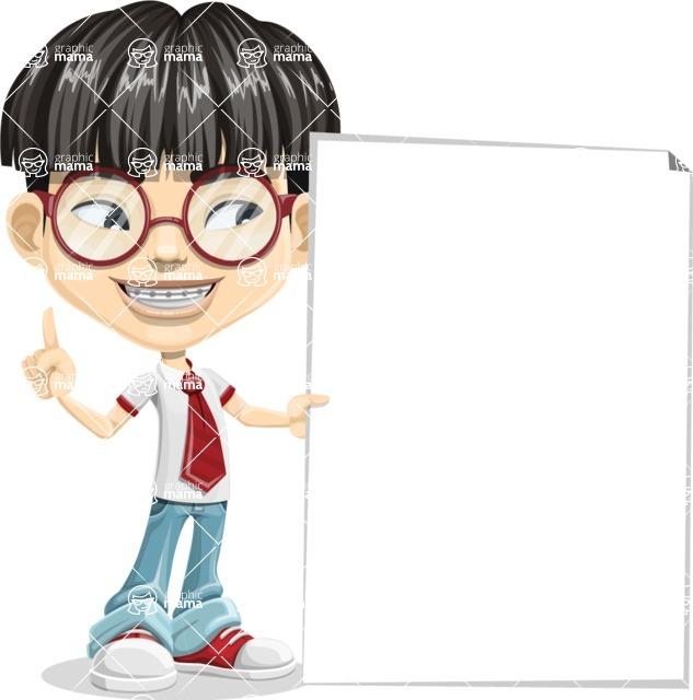 Asian School Boy Cartoon Vector Character AKA Jeng Li - Sign 8