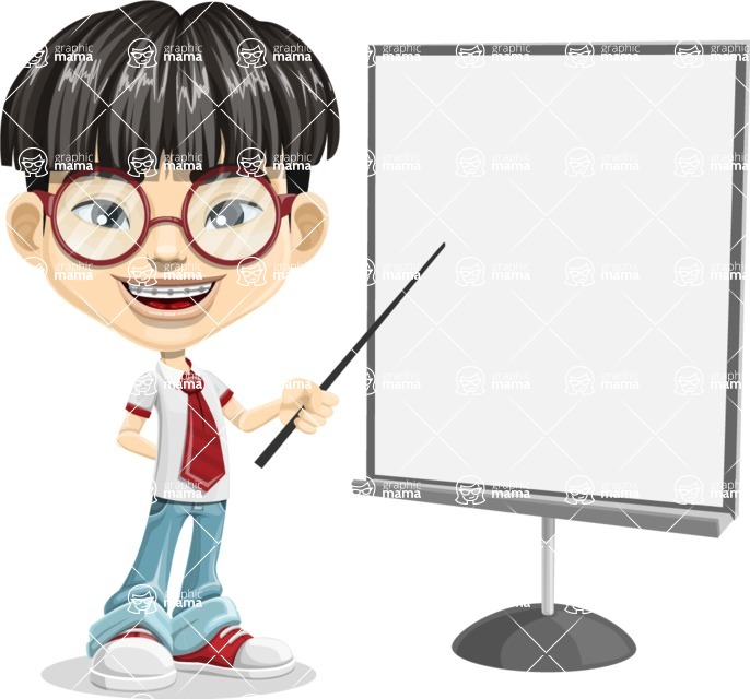 Asian School Boy Cartoon Vector Character AKA Jeng Li - Presentation 1
