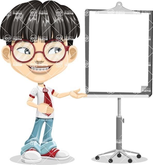 Asian School Boy Cartoon Vector Character AKA Jeng Li - Presentation 2