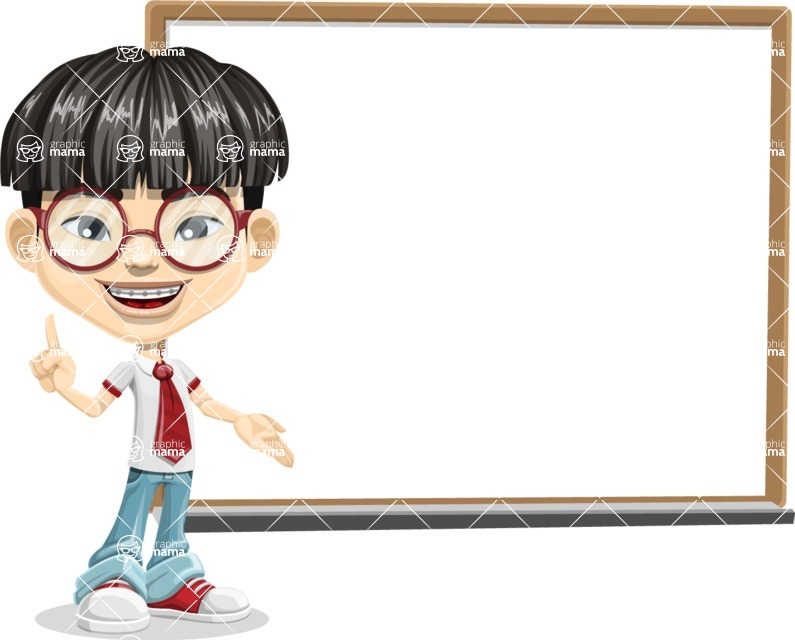 Asian School Boy Cartoon Vector Character AKA Jeng Li - Presentation 3