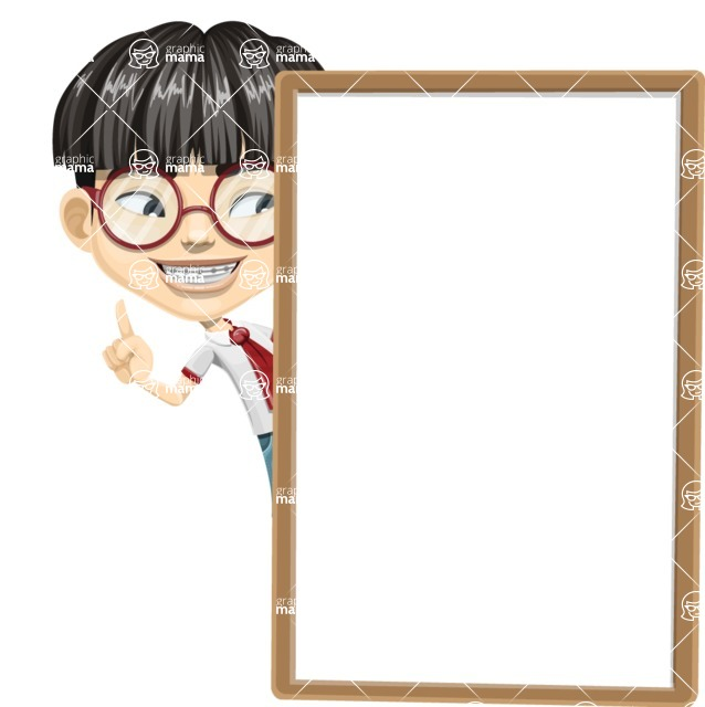 Asian School Boy Cartoon Vector Character AKA Jeng Li - Presentation 4