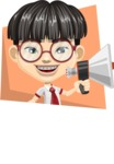 Asian School Boy Cartoon Vector Character AKA Jeng Li - Shape 4