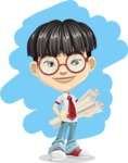 Asian School Boy Cartoon Vector Character AKA Jeng Li - Shape 5