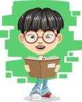 Asian School Boy Cartoon Vector Character AKA Jeng Li - Shape 8