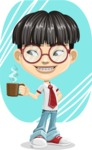 Asian School Boy Cartoon Vector Character AKA Jeng Li - Shape 9