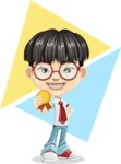 Asian School Boy Cartoon Vector Character AKA Jeng Li - Shape 10