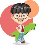 Asian School Boy Cartoon Vector Character AKA Jeng Li - Shape 11