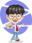 Asian School Boy Cartoon Vector Character AKA Jeng Li - Shape 12