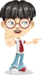Asian School Boy Cartoon Vector Character AKA Jeng Li - Direct Attention 2