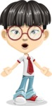 Asian School Boy Cartoon Vector Character AKA Jeng Li - Stunned