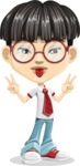 Asian School Boy Cartoon Vector Character AKA Jeng Li - Making face