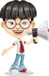 Asian School Boy Cartoon Vector Character AKA Jeng Li - Loudspeaker