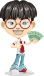 Asian School Boy Cartoon Vector Character AKA Jeng Li - Show me the Money
