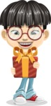 Asian School Boy Cartoon Vector Character AKA Jeng Li - Gift