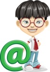 Asian School Boy Cartoon Vector Character AKA Jeng Li - E-mail