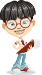 Asian School Boy Cartoon Vector Character AKA Jeng Li - Note 2