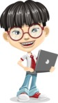 Asian School Boy Cartoon Vector Character AKA Jeng Li - Laptop