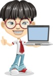 Asian School Boy Cartoon Vector Character AKA Jeng Li - Laptop 2