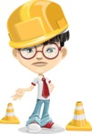 Asian School Boy Cartoon Vector Character AKA Jeng Li - Under Construction