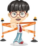 Asian School Boy Cartoon Vector Character AKA Jeng Li - Under Construction 2