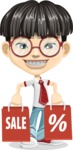 Asian School Boy Cartoon Vector Character AKA Jeng Li - Sale