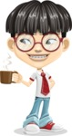 Asian School Boy Cartoon Vector Character AKA Jeng Li - Coffee
