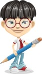 Asian School Boy Cartoon Vector Character AKA Jeng Li - Pencil