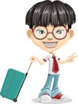 Asian School Boy Cartoon Vector Character AKA Jeng Li - Travel