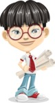 Asian School Boy Cartoon Vector Character AKA Jeng Li - Plans