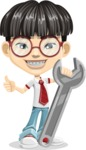 Asian School Boy Cartoon Vector Character AKA Jeng Li - Repair