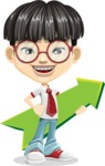 Asian School Boy Cartoon Vector Character AKA Jeng Li - Pointer 1