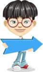 Asian School Boy Cartoon Vector Character AKA Jeng Li - Pointer 2