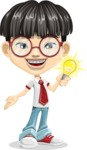Asian School Boy Cartoon Vector Character AKA Jeng Li - Idea 1
