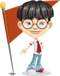 Asian School Boy Cartoon Vector Character AKA Jeng Li - Checkpoint