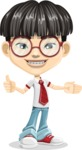 Asian School Boy Cartoon Vector Character AKA Jeng Li - Show 2