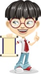 Asian School Boy Cartoon Vector Character AKA Jeng Li - Scroll