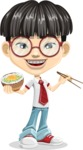 Asian School Boy Cartoon Vector Character AKA Jeng Li - Rice bowl