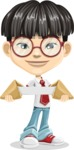 Asian School Boy Cartoon Vector Character AKA Jeng Li - Fortune cookie 2