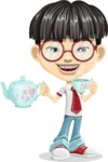 Asian School Boy Cartoon Vector Character AKA Jeng Li - Tea