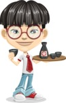 Asian School Boy Cartoon Vector Character AKA Jeng Li - Sake
