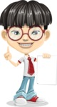 Asian School Boy Cartoon Vector Character AKA Jeng Li - Sign 2