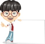 Asian School Boy Cartoon Vector Character AKA Jeng Li - Sign 7