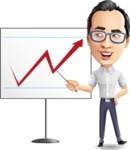 Cartoon Chinese Man Vector Character - Pointing on a Blank whiteboard