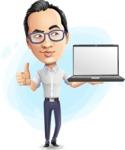 Cartoon Chinese Man Vector Character - Shape9