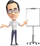 Cartoon Chinese Man Vector Character - with a Blank Presentation board