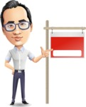 Cartoon Chinese Man Vector Character - with Blank Real estate sign