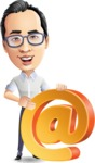 Cartoon Chinese Man Vector Character - with Email sign