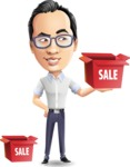 Cartoon Chinese Man Vector Character - with Sale boxes